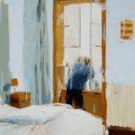 Homme à la fenêtre /huile sur bois 50x70cm