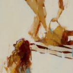 Vertical plage /huile sur toile 90x30cm VENDU