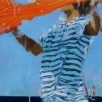 Orange windy day 1 /huile sur bois 50x50cm