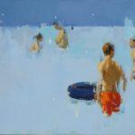 Bain bleu et bouée /huile sur toile 50x70cm