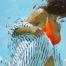 Stripes orange four /huile sur toile 92x65cm