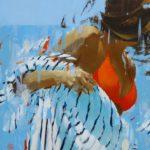 Stripes orange seven /huile sur toile 92x60cm