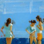 Bleu marine /huile sur bois 50x50cm