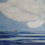 Nuages, cargo noir /gouache-crayon/papier ciré 84x110cm