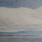 Nuages, petit bateau blanc /gouache-crayon/papier ciré 84x110cm