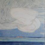 Nuages, cargo orange /gouache-crayon/papier ciré 110x84cm