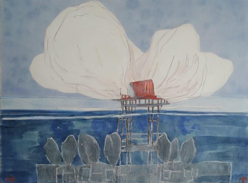 House, Cloud and Water /tech mixte marouflée sur bois 84x110 cm