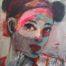 Jeune fille aux macarons /technique mixte sur toile 33x27cm