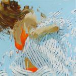 Stripes orange 22 /huile sur toile 80x80cm