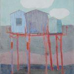 3 cabanes bleues sur rouge /gouache-crayon /papier ciré 81x60cm