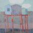 3 cabanes bleues sur rouge /crayon et gouache sur papier marouflé et ciré 81x60cm
