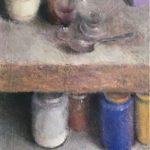 Nature morte aux pots / huile sur toile 60x30cm VENDU