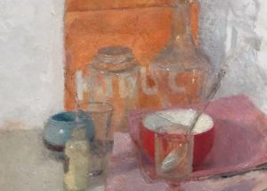 Le sac orange /huile sur toile 61x46cm