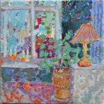With candle light in the windowsill /huile sur toile 30x30cm