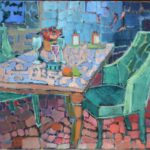 A glass of wine and some fruits /HST 50x60cm