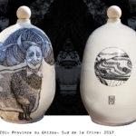 BALISE GHIZOU (Chine)/céramique peinte et émaillée H50cm
