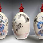 Balise HARAJUKU /céramique peinte à la main et émaillée H60cm