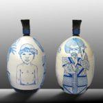 Balise KOTOHIRA Japon /céramique peinte et émaillée /bois,crin et tissu H55cm