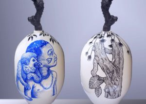 BALISE MARANHAO (Amazonie) /céramique peinte et émaillée H61cm