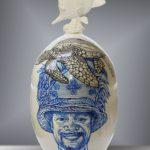 Balise MESA DEL MAR Ile de Pâques /céramique peinte H55cm env.