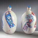 Balise NGOBLE-BUGLE Panama /céramique peinte H55cm env.