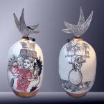 Balise PADANG Sumatra /céramique peinte et émaillée /bois H58cm