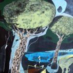 Baigneuses sous les pins /acrylique sur toile 46x54cm VENDU