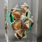Old school - 3 sprays /inclusion cristal de synthèse 35x20x10cm /VENDU