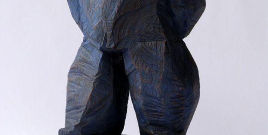 Bleu marin /chêne 31x14x11cm