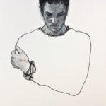 La main sur l'épaule /acryl et pastel sec 32x32cm