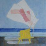 Cabane jaune citron /gouache-crayon/papier ciré 60x50cm