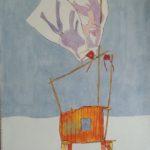 Cabane orange et drapeaux /gouache-crayon/papier ciré 120x84cm