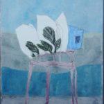 Chaise cabane jardin /gouache-crayon sur papier ciré 73x60cm