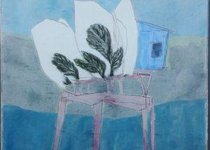 Chaise cabane jardin /crayon et gouache sur papier marouflé et ciré 73x60cm