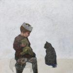 Conversation /acryl, pastel et huile sur toile 120x120cm
