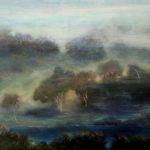 Petite mer de brume /acryl sur bois 51x48cm