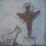L'ange et la chèvre /tech mixte marouflée 20x20cm