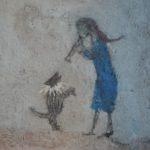 Figure et son petit chien /tech mixte marouflée 20x20cm