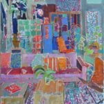 The pink sofa in the old factory/huile sur toile 90x80cm