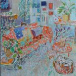 Relaxing in the living room/huile sur toile 90x80cm