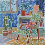 She loved her cactus plants /huile sur toile 30x30cm