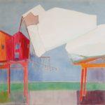 Deux cabanes pour David , Chaise et Voiles /technique mixte marouflée 73x100cm