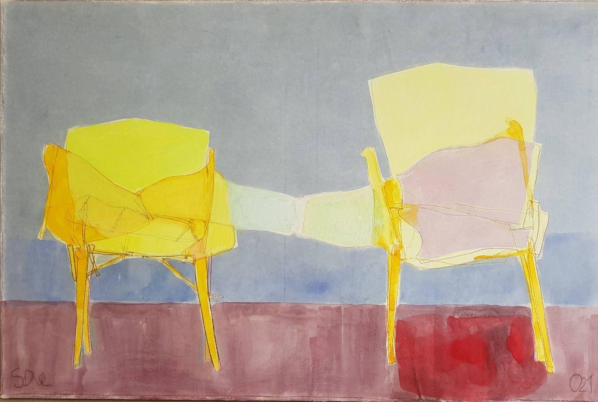 Deux fauteuils jaunes /technique mixte marouflée 54x81cm