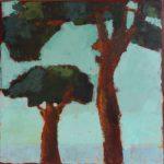 Deux arbres /huile sur toile 30x30cm