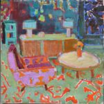 Evening in the living room /huile sur toile 30x30cm