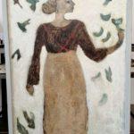 Femme aux oiseaux /tech mixte sur bois 126x85cm