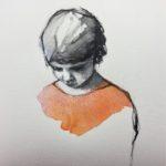Fillette /pastel sec et aquarelle 22x22cm