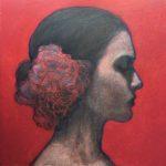 Flamenco /acrylique et pastel huile sur bois 20x20cm