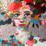 Grand visage à la tunique fleurie II /tech miste sur toile 92x73cm