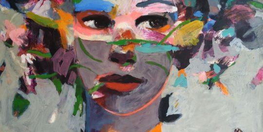 Grand visage à la tunique à fleurs /tech mixte sur toile 92x73cm